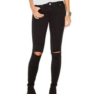 Free People Black Skinny Jeans W/ Destroyed Knees